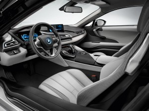BMW i8 has a futuristic interior with traditional details